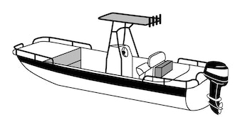 Center Console Rounded-Bow Bay Style Fishing Boat with Shallow Draft Hull with T-Top Covers