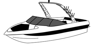 Tournament Ski Boat with Rear Mounted Forward-Facing Tower Covers