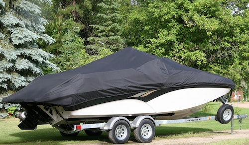 Black Boat Cover V-Hull Runabout