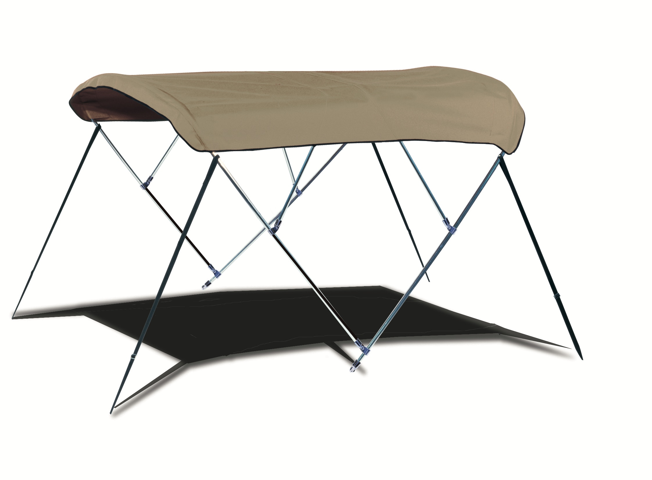4-bow Round Tube Bimini Top in Sunbrella Linen