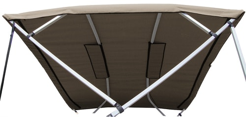 Carver 4-Bow Square Tube Bimini Top Replacement Canvas in Sunbrella Linen with Zippered Sleeves and Light Cut-Out