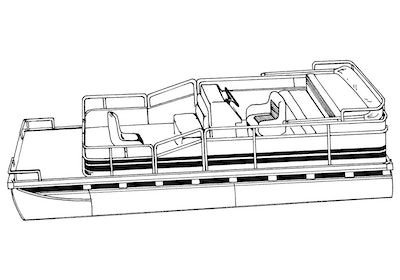 Pontoon with Bimini Top and Partially Enclosed Deck Boat Covers