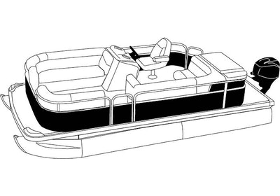 Pontoon with Rails that Partially Enclose Deck Forward of the Front and Rear Gate Covers