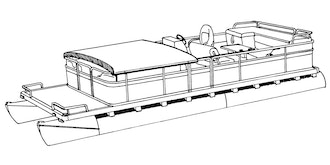 Pontoon with Fold Down Hard Top and Partially Enclosed Deck Boat Covers