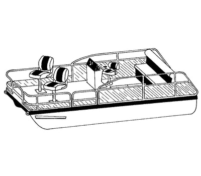 CoverQuest Pontoon with Fishing Chairs Line Drawing