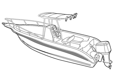 Center Console Boat with T-Top DEHT Boat Covers
