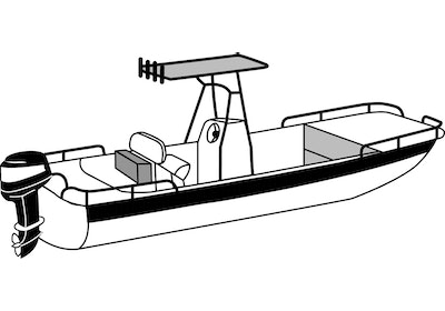 Center Console Rounded-Bow Bay Style Fishing Boat with a Shallow Draft Hull with a T-Top DEHT Boat Covers