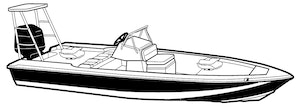 Boat Covers for Skiff Style Boat with Poling Platform