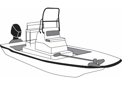 CoverQuest Flats Style Boat with High Grab Rail Line Drawing