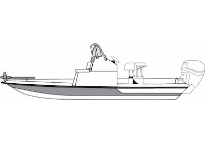 CoverQuest Flats Style Boat with Low Grab Rail Line Drawing