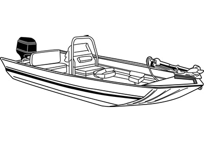 Jon Boat with Center Console Line Drawing