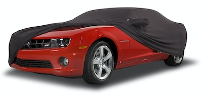 Covercraft Black Car Cover on Red Camaro