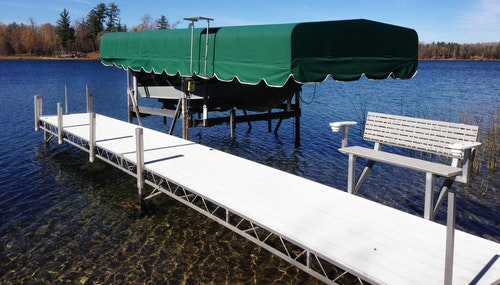 Boat Canopy Lift Cover in Green on Boat Dock