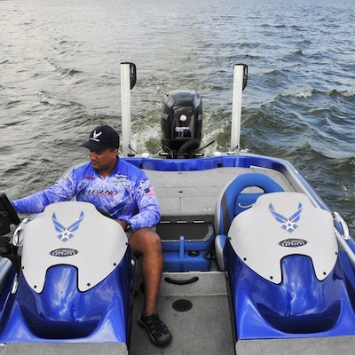 Fishfinder and Power Pole on Bass Boat